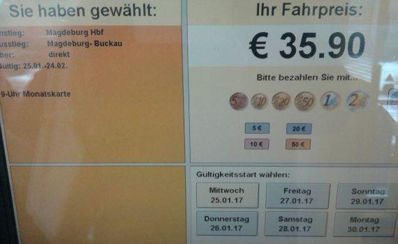 Das 9-Uhr-Abo kehrt zurück - allerdings nur bei den Ticketautomaten des Harz-Elbe-Expess (HEX).