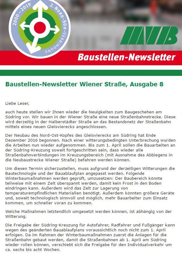 Baustellen-Newsletter Nr.8