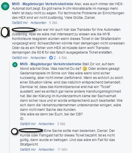 Screenshot Unterhaltung MVB-Nutzer Facebook