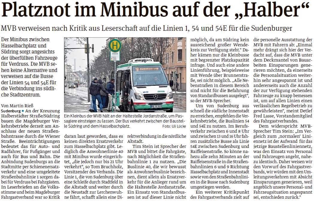 VS-Bericht zu Kritik an Baustellenlinien Minibus 31.01.2017