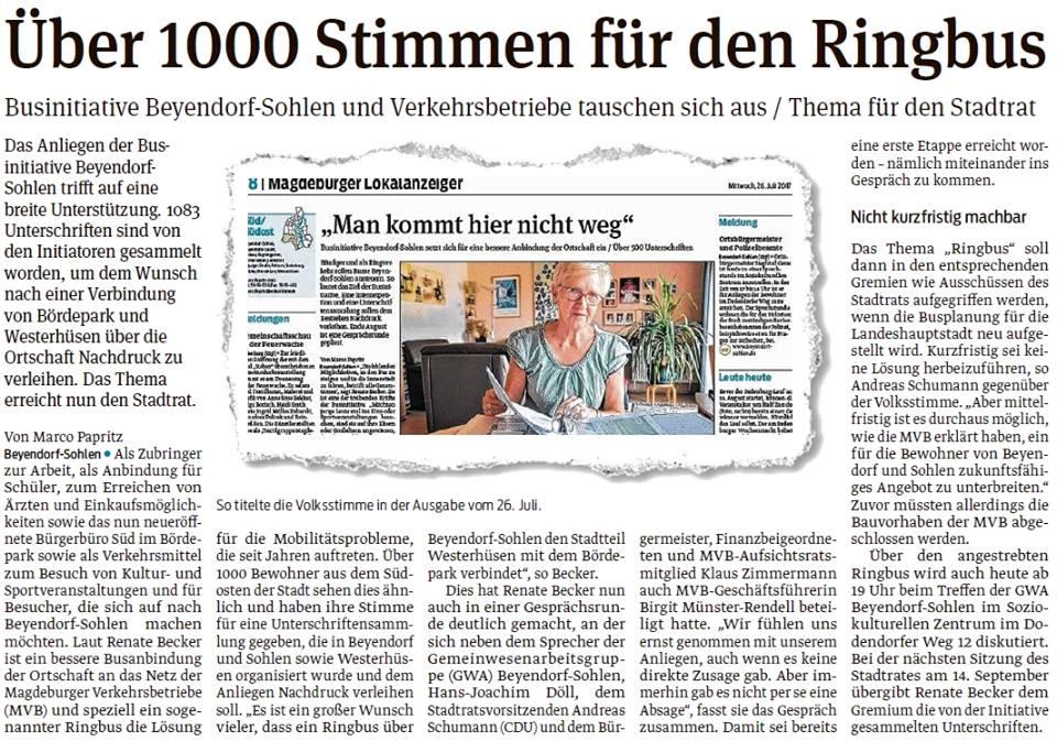 Beyendorf-Sohlen will Ringbus