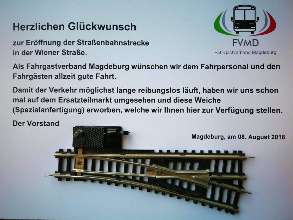 Ein Geschenk zur Einweihung der Wiener Straße gab es vom Fahrgastverband Magdeburg