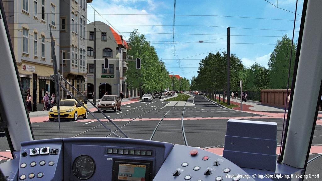 Die Raiffeisenstraße nach dem Netzausbau und wieder begrünt. (Auszug aus MVB-Animationsfilm)